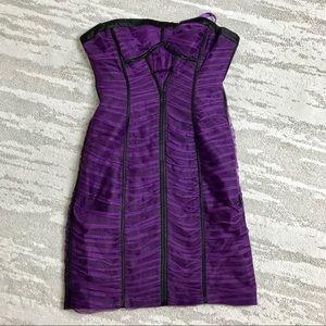 BCBG purple strapless dress size 2